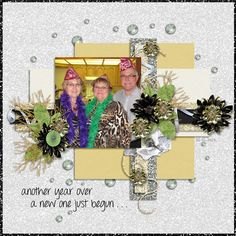 Celebration by Leigh Penrod Digitals will enhance all your party style pictures. Here we are ringing in the New Year in style, and I decorated my scrapbook page with glitter and gold, and black with a pop of green.