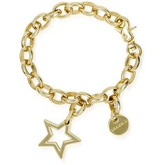 Brahmin Star Gold Charm Bracelet (66 CAD) ❤ liked on Polyvore featuring jewelry, bracelets, accessories, pulseiras, pulseras, gold, gold charms, gold bangles, clasp charms and gold charm bracelet
