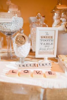 Hostess with the Mostess® - Sophisticated Scrabble Feature Wedding Dessert Table. Other awesome bridal shower ideas!