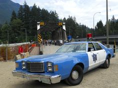 Cop car and bridge from Rambo, First Blood.  Hope, BC.