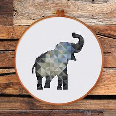 Geometric Elephant cross stitch pattern Modern von ThuHaDesign