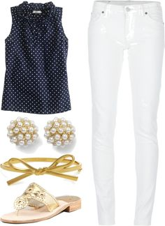 """Preppy Summer Outfit"" by elizabethandre ❤ just not white pants"