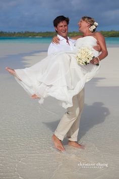 Don't put me down! // Destination Wedding in One Foot Island, Aitutaki, Cook Islands // Christine Chang Photography