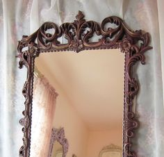 Vintage Hollywood Regency Turner Wall Mirror Dusty Mauve with Gold Highlights
