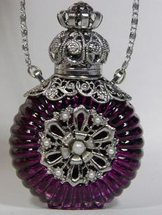 Czech Bohemian perfume bottle necklace
