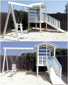 Now you can see an idea for the reclaimed wood pallet playhouse for kids, which is huge and it contains a slide as well as a seesaw that is loved by the kids and they will not ask for the permission to go outside for playing with the friends.