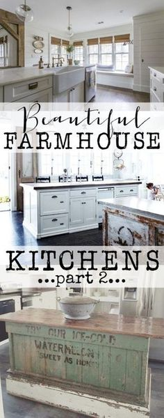 Farmhouse Kitchens Part 2.  See tons of beautiful farmhouse kitchens full of inspiration