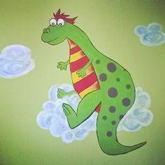 Simple Dino Wandbemalung Wandtattoo freihand gezeichnet freehand f r das Kinderzimmer ber dem Bett Dinosaurier