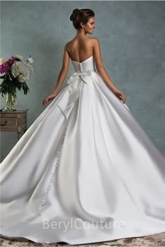 Simple Royal Ball Gown Strapless Satin Draped Wedding Dress With Bow Belt