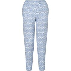 Collection WEEKEND by John Lewis Jacquard Capri Trousers, Blue / Ivory (450 ZAR) ❤ liked on Polyvore