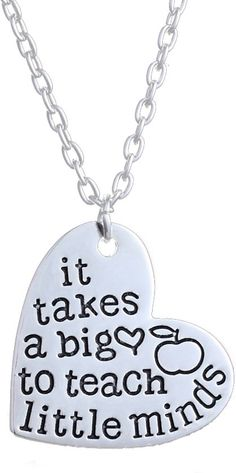 Ketting hart met tekst | It takes a big heart to teach little minds | ketting voor juf