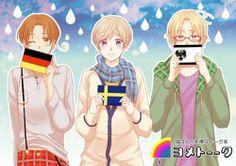 Germany X Italy, Sweden X Finland, Prussia X Canada~!!!! (GerIta, SuFin, PruCan Yaoi)
