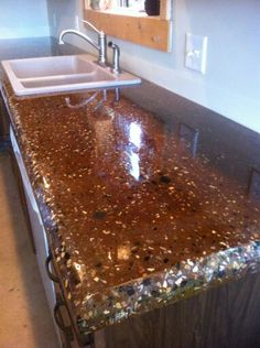 Project Images - D & E Concrete Countertops; Dark walnut with ...
