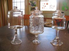DIY Apothecary jars using jars and cheap dollar store candle holders