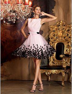 Sheath/Column Jewel Short/Mini Chiffon|Tulle Cocktail Dress (1049245) – EUR € 99.99