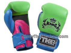 Top King TOPKING Muay Thai gloves - NEON - GRREN/PINK/BLUE for sale.  http://www.muaythaifactory.com/muay-thai-gloves.asp?productid=TKBGDL-NEON-GNPKBL