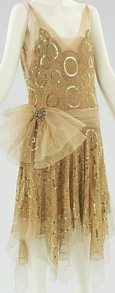 Evening ensemble in champagne silk, ca 1923.  I would totally wear this #GoldDress
