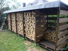 Build a stable firewood shelter (firewood shed) well and cheaply yourself rakeknivens world Outdoor Firewood Rack, Firewood Shed, Firewood Storage, Cheap Firewood, Wood Storage Sheds, Garden Tool Storage, Garden Tools, Log Shed, Wood Store