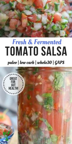 Fermented Tomato Salsa – Pico de Gallo +VIDEO – Prepare & Nourish Lacto-Fermented Tomato Salsa is a tangy and gut-healing version of Pico de Gallo. Naturally Paleo, and Low Carb, this will be your favorite condiment all season long. Fermentation Recipes, Canning Recipes, Raw Food Recipes, Vegetable Recipes, Mexican Food Recipes, Healthy Recipes, Ketchup, Chutney, Sauce Barbecue