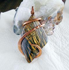 Copper wire wrapped Jasper pendant boho rustic jewelry