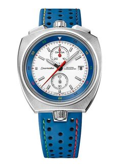 """The @omegawatches Seamaster Bullhead """"Rio 2016″ Limited Edition features stylistic touches that call out its connection to the Olympics on both the blue, perforated leather strap and the inner rotating bezel; yellow, green, red, and black are used, echoing the color of the iconic Olympic rings. More at: http://www.watchtime.com/wristwatch-industry-news/watches/omega-begins-olympics-countdown-with-new-seamaster-bullhead-rio-2016/ #omega #watchtime #chronograph"""