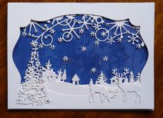 I like this combination of die cuts. First, I cut the window with a nest abilities die (Spellbinders), used of Memory Box dies: Frostyville Border & Country Landscape; Flourish Christmas Tree by Cottage Cutz; and small deer by Impression Obsession die. Figures, tree & hillside were embossed with Ranger Polysparkle powder.