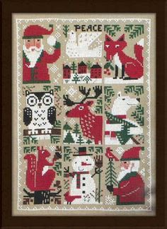 The Evergreen cross-stitch pattern by the Prairie Schooler brings us brings us some country Christmas charm in this adorable piece that you will love to stitch! The little critters and Santa Claus are enjoying Christmas all around!