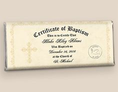 Baptism Certificate Candy Bar Wrapper: Party Favors Front