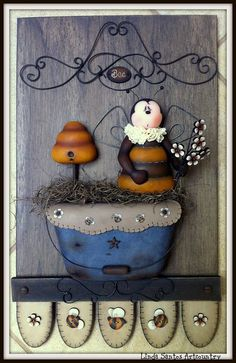 Biscuit Country by Linda Santos Artcountry, via Flickr Estilo Country, Arte Country, Pintura Country, Cute Clay, Country Paintings, Pasta Flexible, Sculpture Clay, Country Primitive, Fabric Painting