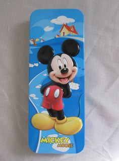 Pen Pencil Case with Tray Disney Mickey Minnie Mouse Hinged Tin NEW #Disney