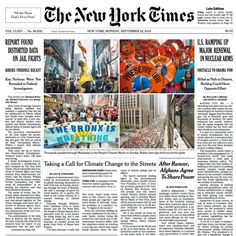 #PeoplesClimate March on the front page of the New York Times!