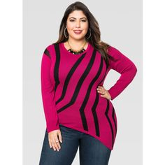 Ashley Stewart Asymmetrical Intarsia Pullover Sweater ($60) ❤ liked on Polyvore featuring tops, sweaters, plus size pullover sweaters, plus size sweaters, pink sweater, crewneck sweater and leather sweater