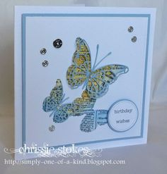 Simply One Of A Kind: Case Study 199 - MB butterflies, text is IO background stamp. Lovely card.