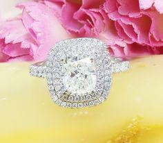 $7099.00, www.designsbyknr.com 18K White Gold Cushion Cut Diamond Engagement Ring Soleste Style, Anniversary, Wedding, Propose, Double Halo, Prong Set 1.60ct I-VS2 EGL US by KNRINC on Etsy