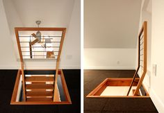 Loft stairs.  Somewhere between stairs and a ladder but save a lot of space and look great!