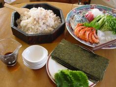 """Hand-rolled sushi.   In present-day Japan, this dish is often eaten at parties. Sushi rice is put on dried seaweed sheets (""""nori"""") with shrimp, cucumber, sweet omelettes (""""tamago-yaki"""") and other fillings, then rolled up."""