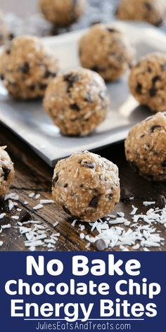 These delicious No Bake Chocolate Chip Energy Bites are loaded with chocolate chips coconut oats flaxseed and chia seeds They are the perfect healthy snack recipe energybites energyballs healthy snack recipe recipeideas flaxseed chiaseeds via julieseats Oatmeal Energy Bites, No Bake Energy Bites, Granola Bites, Lunch Snacks, Kid Snacks, Party Snacks, Muesli, Healthy Snacks For Kids, Healthy Foods To Eat