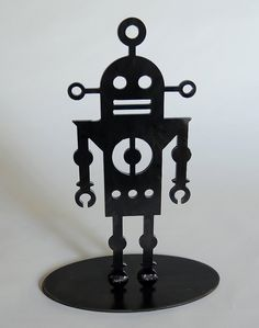 Robot 3 - modern table top robot sculpture in steel.  , via Etsy.