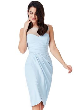 Vaso Midi παστέλ σιελ φόρεμα με διαφάνεια Cocktails, Formal Dresses, How To Wear, Fashion, Craft Cocktails, Dresses For Formal, Moda, Formal Gowns, Fashion Styles