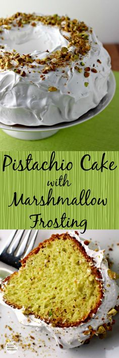 "Pistachio Cake with Marshmallow Frosting | Renee's Kitchen Adventures - Delightful ""green cake"" with a sweet marshmallow frosting.  This is an easy,moist, must try recipe!"
