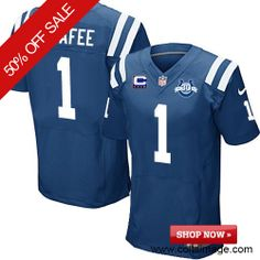 $129.99 Men's Nike Indianapolis Colts #1 Pat McAfee Elite Team Color C Patch 30th Seasons Patch Blue Jersey