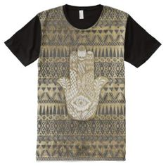 Faux Print Gold Hamsa Hand and Tribal Aztec