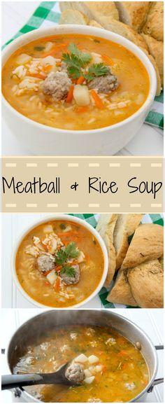 Meatball, rice and potato soup. Simple and good. ValentinasCorner.com