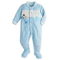 Mickey Mouse Velour Romper for Baby | Disney Store All is peaceful in the forest with this cozy velour jumpsuit featuring an embroidered Mickey Mouse with his new woodland pal. A gripping pattern on the soles of the feet keep your little one grounded when doing his own exploring.