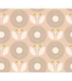 Elizabeth Olwen Cotton Fabric-Fairytale Gardens Flowers Taupe
