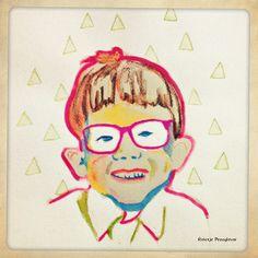 Jongetje met bril, potlood en waterverf, door Grietje Drooglever