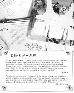 Dear Maddie: Pattern Making Books + Tools
