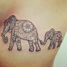 Dotwork Mandala Indian Elephant With Baby Elephant Tattoo Design Tattoo For Son, Tattoos For Daughters, Tattoo You, Daughter Tattoos, Mother Daughter Tattoo, Baby Tattoos, Family Tattoos, Body Art Tattoos, Small Tattoos