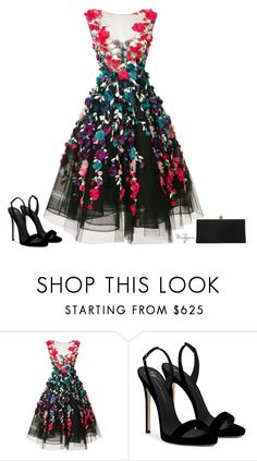 """Untitled #634"" by mandyjeanb87 on Polyvore featuring Marchesa, Giuseppe Zanotti, Jimmy Choo, floral, Clutch, Heels, dress and jimmychoo"