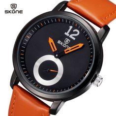 Skone 9240 Quartz Watch Round Dial Leather Watchband for Men (ORANGE)